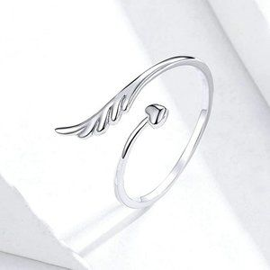 Angel Wing & Heart Bypass Ring Sterling Silver